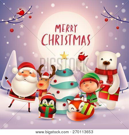 Merry Christmas! Happy Christmas companions in the moonlight. Santa Claus, Reindeer, Elf, Polar Bear, Fox, Penguin and Red Cardinal Bird in Christmas snow scene. poster