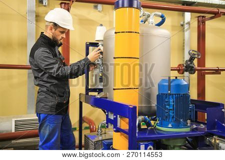 Oil And Gas Service Engineer On Industrial Factory. Maintenance Of Gas Installation. Technician On J