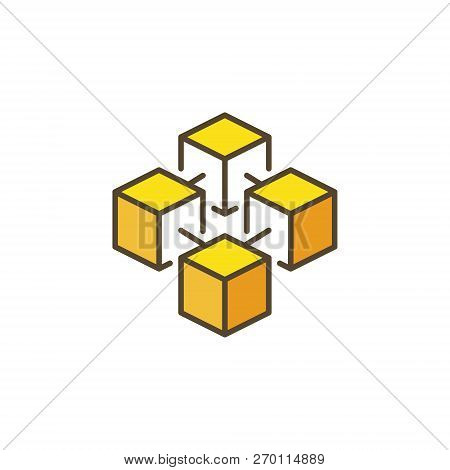 Blockchain Crypto Yellow Icon. Vector Cryptocurrency Concept Symbol On White Background