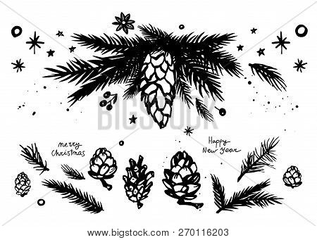 Merry Christmas Set With Fir Branches And Cones, Stars, Anise Star And Mistletoe. Black And White Ha