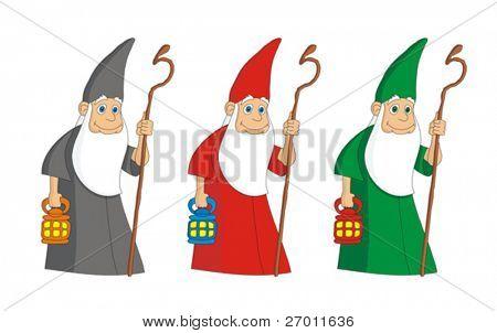 Druid sorcerer cartoon vector illustration