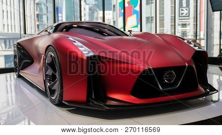 Tokyo, Japan - August 2018: The Nissan Concept 2020 Vision Gran Turismo Vehicle On Display At Nissan