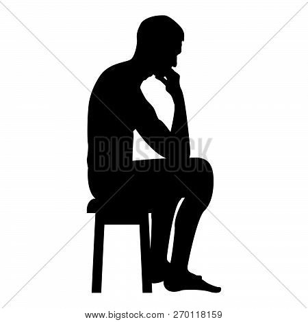 Thinking Man Sitting On A Stool Silhouette Icon Black Color Vector Illustration Flat Style Simple Im