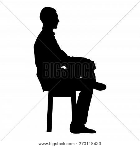 Man sitting pose Young man sits on a chair with his leg thrown silhouette icon black color vector illustration flat style simple image84 poster