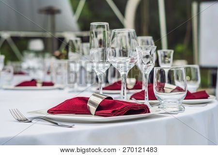 Wedding Table Decoration, Catering Service Table Set For An Event Party Or Wedding Reception