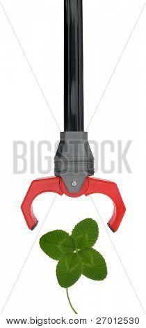 Robotic hand extending grabber grabbing lucky clover poster
