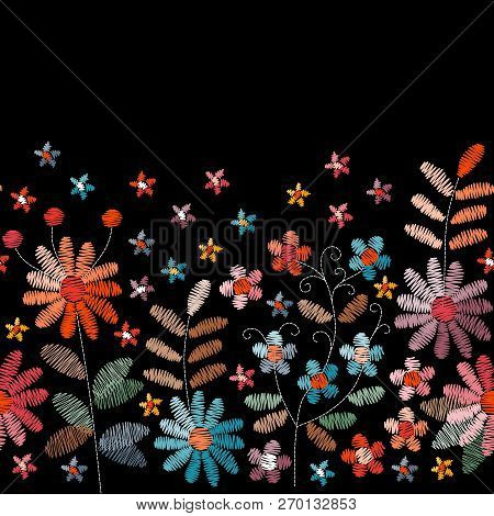 Floral Embroidery. Seamless Embroidered Border With Flowers And Leaves In Vintage Colors. Fancywork