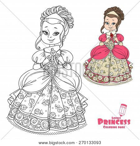 Beautiful Princess Holding Letter In An Envelope Color And Outlined Picture For Coloring Book On Whi