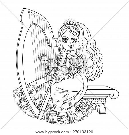 Beautiful Princess Playing The Celtic Harp Outlined Picture For Coloring Book On White Background