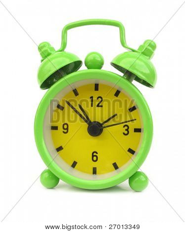 Green alarm clock with two bells vintage