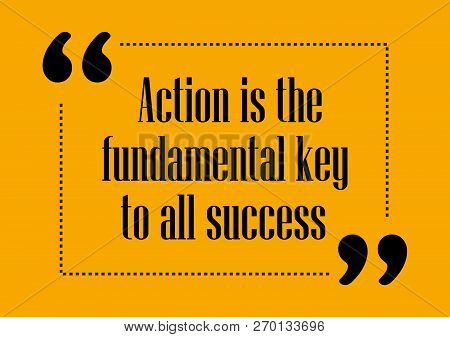 Action Is The Fundamental Key Of All Success Inspirational Quote Business Style Card