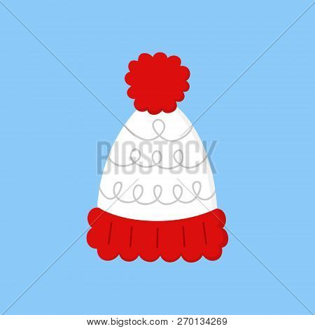 Cute Bobble Hat Vector Illustration Icon. Winter, Christmas, Seasonal, Knitted White Hat With Red Po