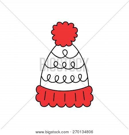Cute Bobble Hat Vector Outlined Illustration Icon. Winter, Christmas, Seasonal, Knitted White Hat Wi