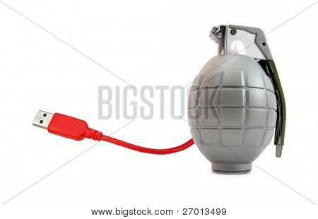 Computer virus cyberterrorism hand grenade with USB connector