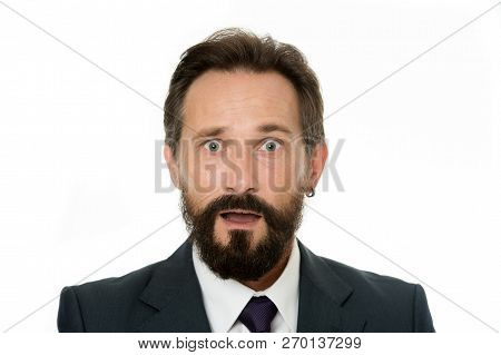 Experienced But Confused. Male Face Puzzled Confused With Beard And Mustache Close Up. Business Peop