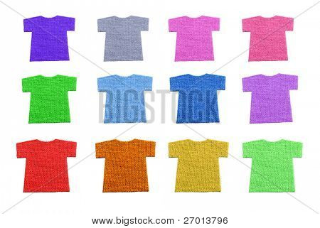 T-shirts shaped textile cotton samples