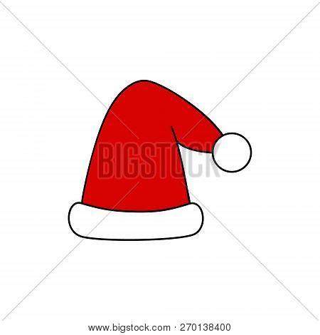 Christmas Party, Santa Hat Vector Outlined Illustration Icon. Festive, Seasonal, Holiday, Celebratio
