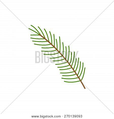 Christmas Tree Branch Vector Illustration Icon. Festive, Seasonal, Holiday Twig, Small Branch With N