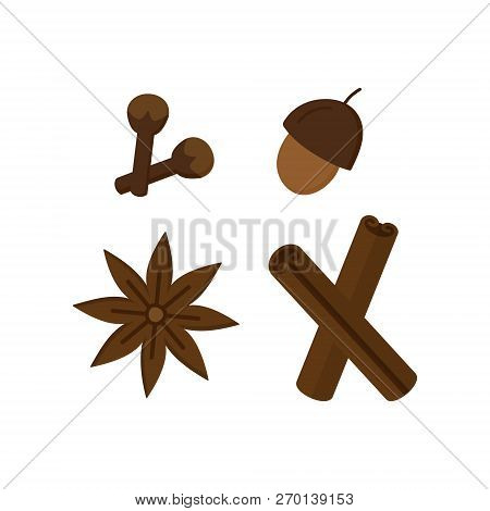 Spice, Seasoning Vector Illustration Icon Set. Autumn, Winter, Christmas, Holiday, Seasonal Seasonin