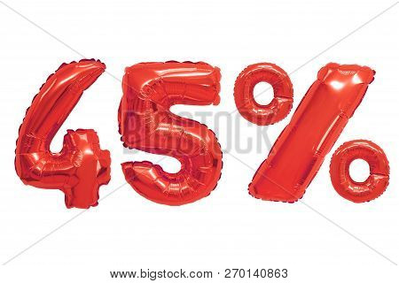 Forty Five Percent From Red Color Balloons On Isolated Background. Discounts And Sales