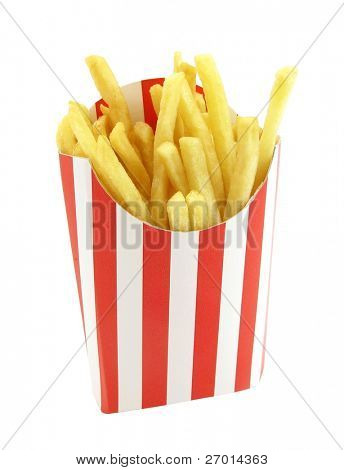 French fries potatoes in red and white stripes box