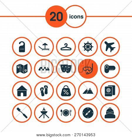Journey Icons Set With Lounger, Backpack, Compass And Other Cafe Elements. Isolated Vector Illustrat