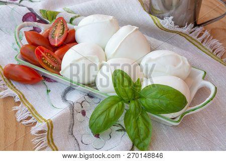 Fresh Soft Italian White Cheese Mozzarella Buffalo, Original From Campania, Paestrum And Foggia Regi