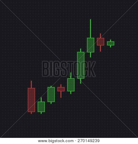 Trade Red And Green Candlesticks Isolated On Dark Transparent Background. Forex Trading, Stock Chart