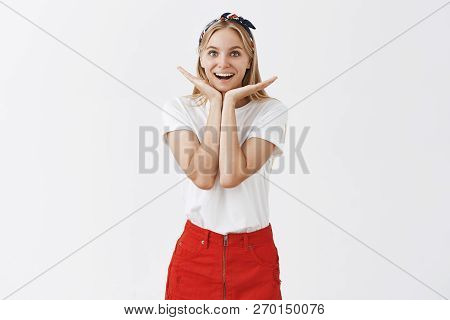 Look At My Carefree Smile. Beautiful Good-looking Happy Female With Blond Hair In Trendy Clothes, Ho