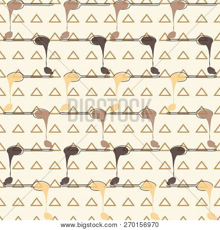 Crows Of Melting Chocolate Spoons On Triangle Background. Seamless Vector Pattern. Ideal For Kitchen