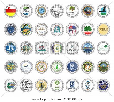 Set Of Vector Icons. Flags And Seals Of Cities, California State, Usa. 3d Illustration.