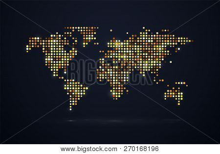 Night Bright World Map With Golden Dots And Light Effects Vector Illustration. Isolated Vivid Brilli