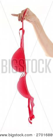Bra red sexy removed by woman