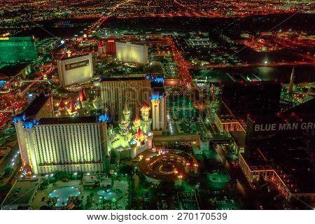 Las Vegas, Nevada, United States - August 18, 2018: Aerial View Of Las Vegas Strip Skyline Illuminat