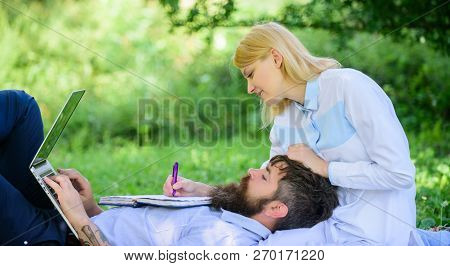 Share Business Responsibility. Business Partner Concept. Couple In Love Or Family Work Online Busine