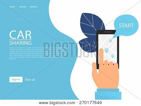 Car Sharing Service Concept. Carsharing Renting Car Mobile App. Hand Holding Smartphone With Share A
