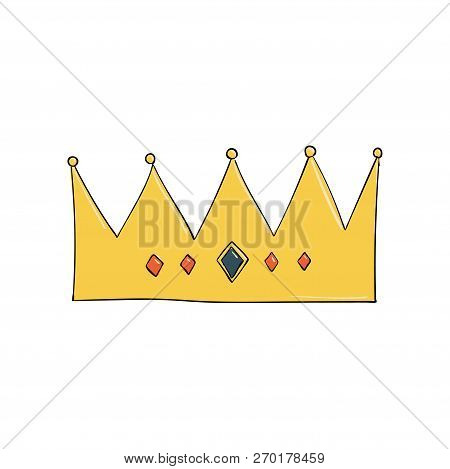 Crown With Gems And Diamonds . A Symbol Of Authority. Headpiece Of The King. Icon Denoting Success A
