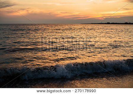 Sunset. Beautiful Sunset Baltic Sea. Painting Sea Sunset
