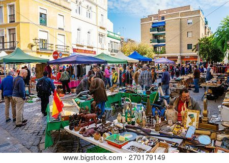 Street Flea Market In Seville, Spain