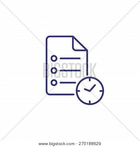 Time Planning Line Icon. Clock And Checklist. Time Concept. Can Be Used For Topics Like Business Pla