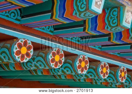Colorful Buddhist Temple Roof Detail