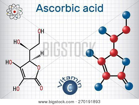 Ascorbic Acid (vitamin C). Structural Chemical Formula And Molecule Model. Sheet Of Paper In A Cage.