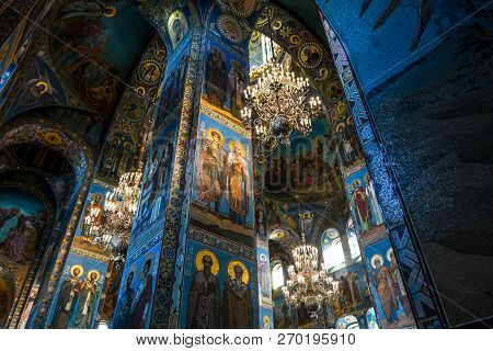 St. Petersburg, Russia - September 10 2018: Inside The Church Of The Savior On Spilled Blood (cathed
