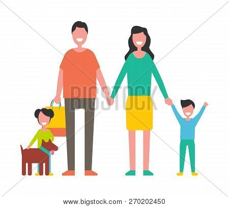 Family Members Mother, Father, Sons And Dog Pet Isolated. Happy Couple And Children, Close Relatives