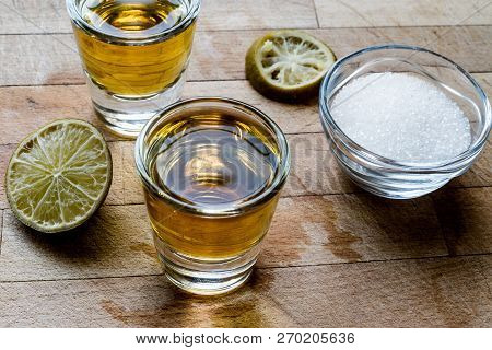Mezcal Tequila Shots With Lime And Salt.