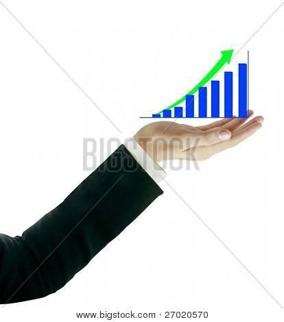 Hands and business graph