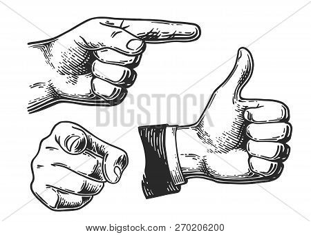 Set Of Different Gestures Hand, Signs And Signals.  Pointing, Fist, Like Gestures Icon. Vintage Blac