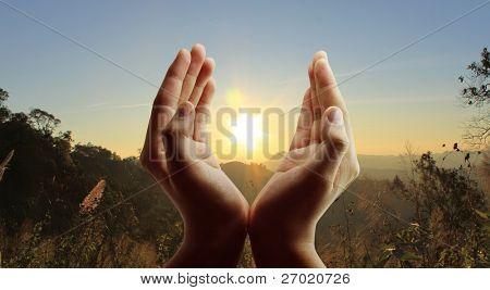 Hands the evening sun