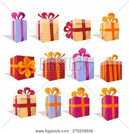 Vector Set Of Different Colorful Perspective Gift Boxes. Beautiful Present Box With Overwhelming Bow