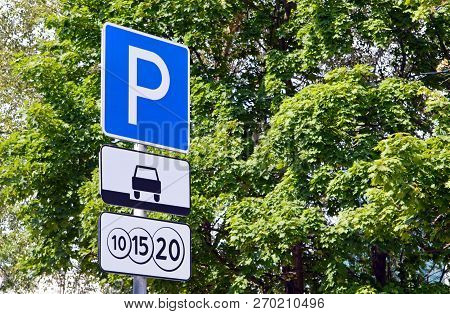 Paid Parking Area In Moscow. Traffic Signs